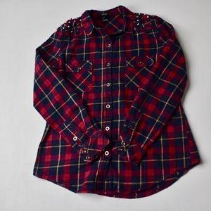 Studded Plaid Button Down Shirt